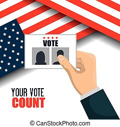 hand hold flag ballot voting usa election graphic