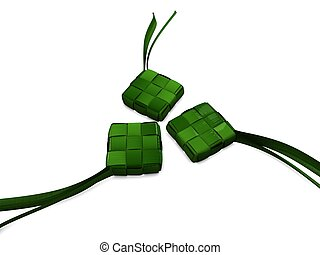 Ketupat - 3d image, Traditional food \'ketupat\', type of...