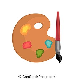 cartoon pallette paint color brush isolated graphic vector...