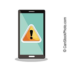 smartphone warning symbol icon desig vector illustration eps...