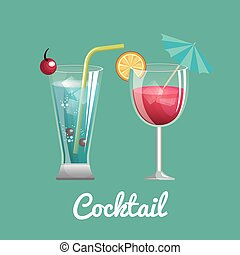 two cocktail glass with straw and umbrella design vector...