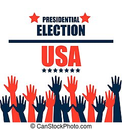 hands raised up election presidential graphic vector...