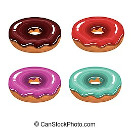 glazed color donuts tasty isolated graphic