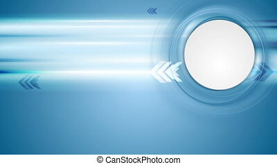 Blue tech motion background with arrows and blank circle....