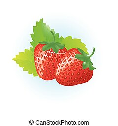 Two strawberries on a white