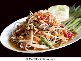 Papaya Salad Thai style (Som tum ) serve with fresh grees...
