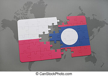 puzzle with the national flag of poland and laos on a world map background. 3D illustration
