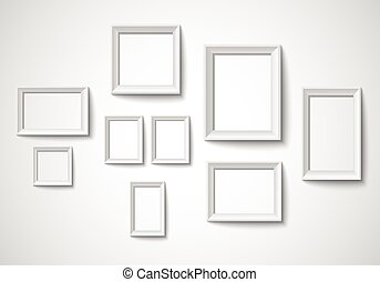 Blank art frame set isolated on wall - Vector EPS 10 format.