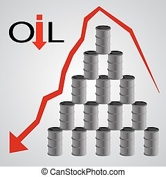 oil barrels pyramid with red arrow eps 10