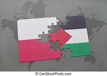 puzzle with the national flag of poland and palestine on a...
