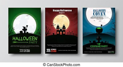 Design posters Halloween party. - Design posters (flyers,...