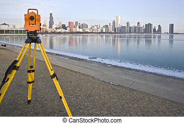 Theodolite in downtown Chicago - Theodolite set in downtown...