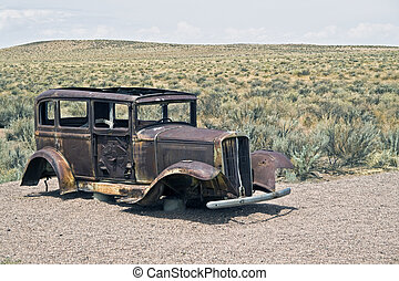 Old car left on the desert.