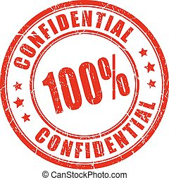 100 confidential rubber stamp isolated on white background