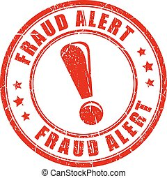 Fraud alert rubber stamp isolated on white background