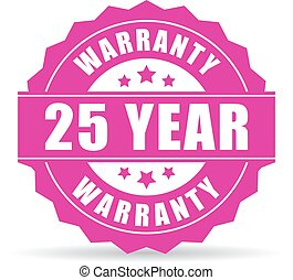 Twenty five year warranty icon isolated on white background