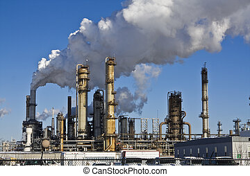 Refinery - Smoking Refinery in Illinois, USA.