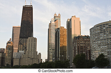 Downtown Chicago from the north side - sunset time,