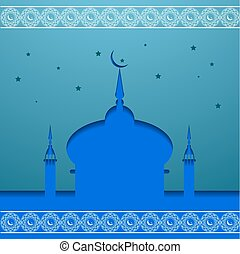 View of mosque in shiny blue night background for holy month  Ramadan Kareem eps 10.