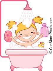 Happy cartoon baby girl kid in pink bath tub - Happy cartoon...
