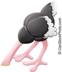 Ostrich Head Buried Cartoon Character - A scared Ostrich...