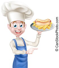 Cartoon Chef With Hot Dog Pointing