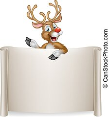 Christmas Reindeer Scroll Background - An illustration of a...