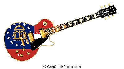 Georgia State Flag Guitar - The definitive rock and roll...