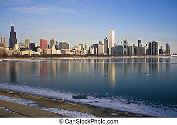 Frozen Lake Michigan in Chicago, IL.