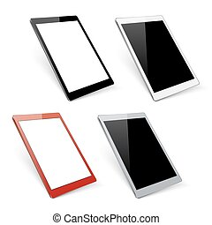 Varicoloured vector tablet mockups. Device gadget with...