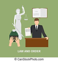 Law and order concept with sign. Vector illustration