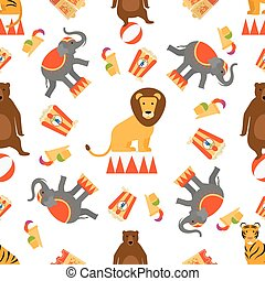 Circus animals and food seamless pattern