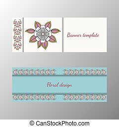 Floral pattern horizontal banner collection Vector...