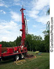 Drilling well in yard - Drilling for geothermal power system...