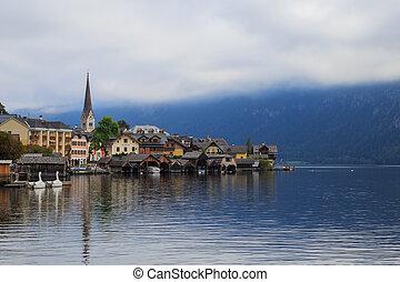 View of the Hallstatt from lake Hallstater See, Hallstatt village in Alps, Austria