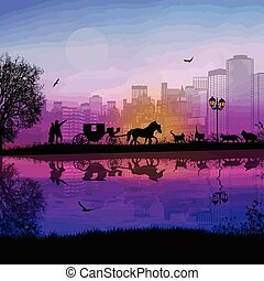 Carriage and lovers at sunset