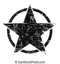 Grunge black star in circle