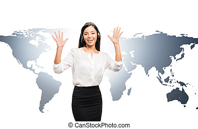Young female customer support operator on a map - Young,...