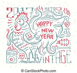 Happy new year 2017 hipster banner lettering Clip Art Vector ...