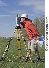 Surveyor at Work - Land Surveyor at Work, spring time