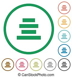 Text align center outlined flat icons - Set of text align...