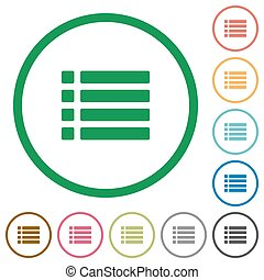 Unordered list outlined flat icons - Set of unordered list...