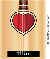 Love Acoustic Guitar - An acoustic guitar sound hole in the...