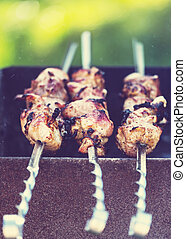 Barbecue - Close-up shot of barbecue, cooked outdoors on the...