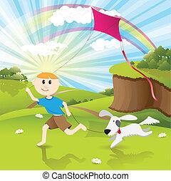 Boy and dog - Illustration, boy runs on herb with dog