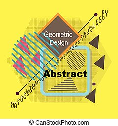 Abstract composition. Minimalistic fashion backdrop design. Triangle brand logo icon. Yellow font texture. Modern ad banner. Rhombus, square text frame fiber. Fancy hexagon firm sign. Stock vector art