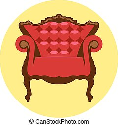 Digital vector red and brown vintage chair