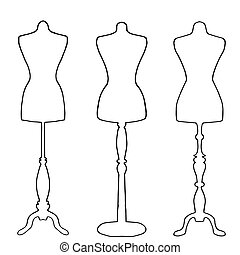 Mannequins drawn in outline on white background