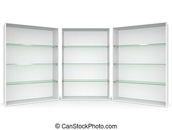 Empty showcase with glass shelves on white isolated background