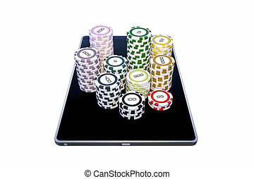 modern tablet with poker chips